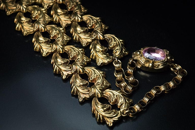 Antique Georgian Era Pink Topaz Gold Necklace and Earrings 4