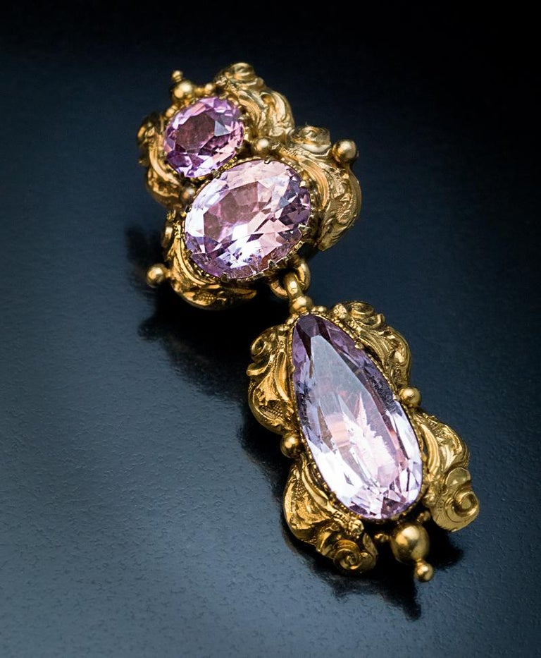 Antique Georgian Era Pink Topaz Gold Necklace and Earrings 5