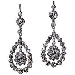 Antique Georgian Era Rose Cut Diamond Earrings