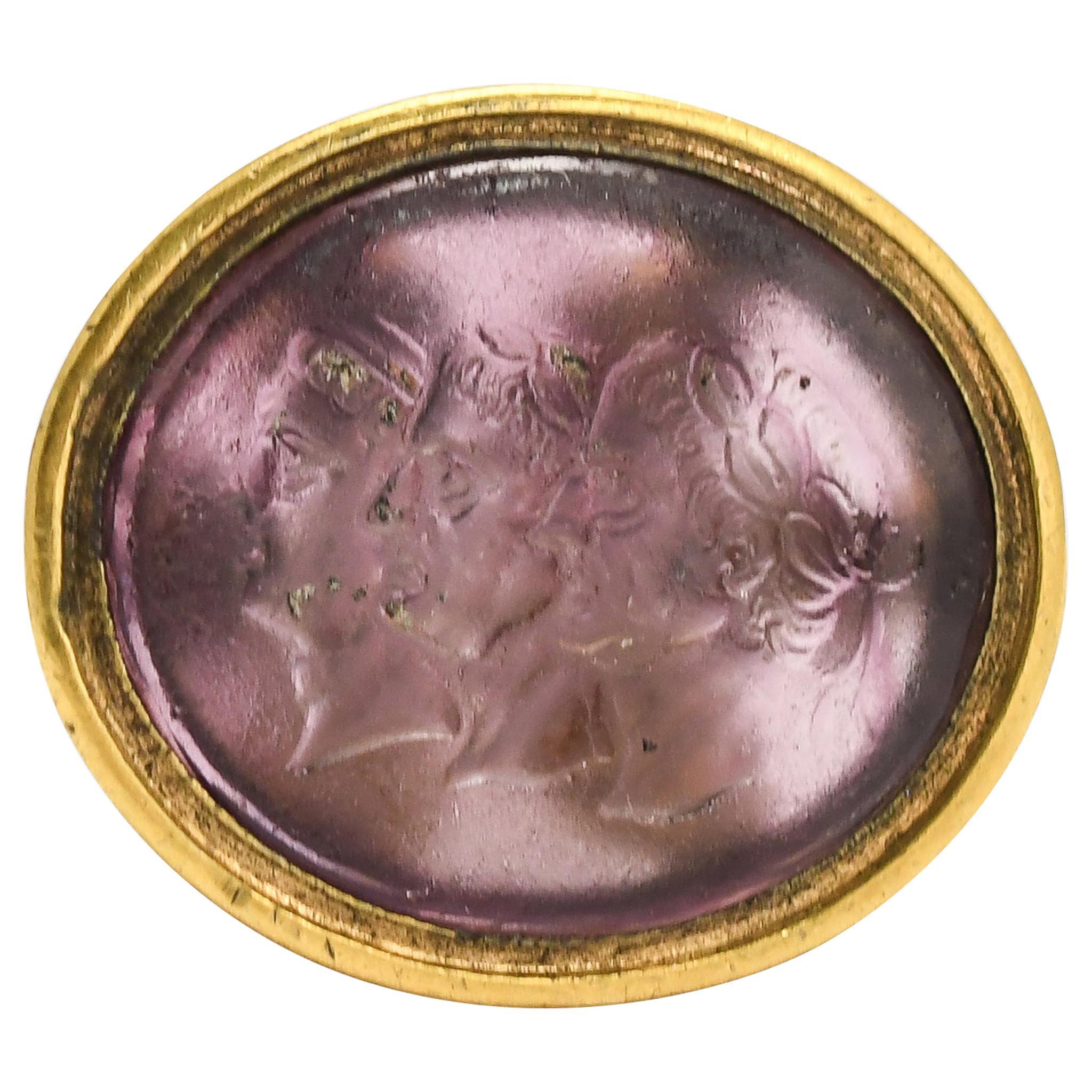 "Antique Georgian ""First Roman Triumvirate"" Intaglio Seal Fob Pendant"