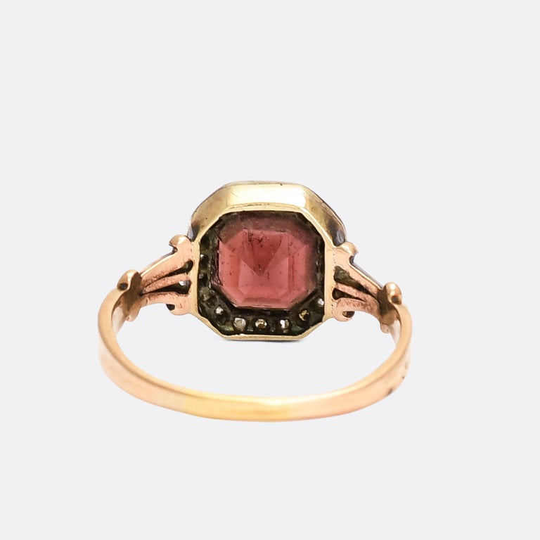 Octagon Cut Antique Georgian Flat-Cut Garnet Diamond Cluster Ring