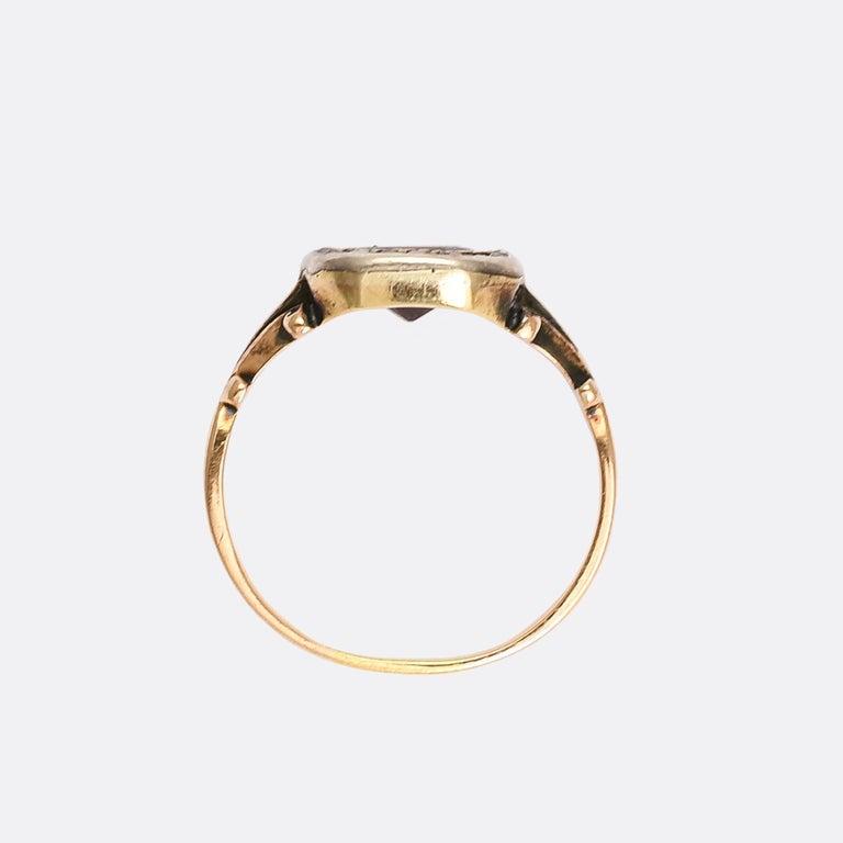 Antique Georgian Flat-Cut Garnet Diamond Cluster Ring In Fair Condition In Sale, Cheshire