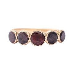 Antique Georgian Flat-Cut Garnet Half Hoop Ring