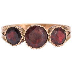 Antique Georgian Flat-Cut Garnet Three-Stone Ring