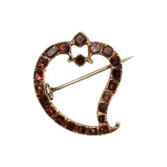 Antique Georgian Flat-Cut Garnet Witch's Heart Brooch