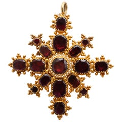 Antique Georgian Flat Cut Granulated Garnet Pendant