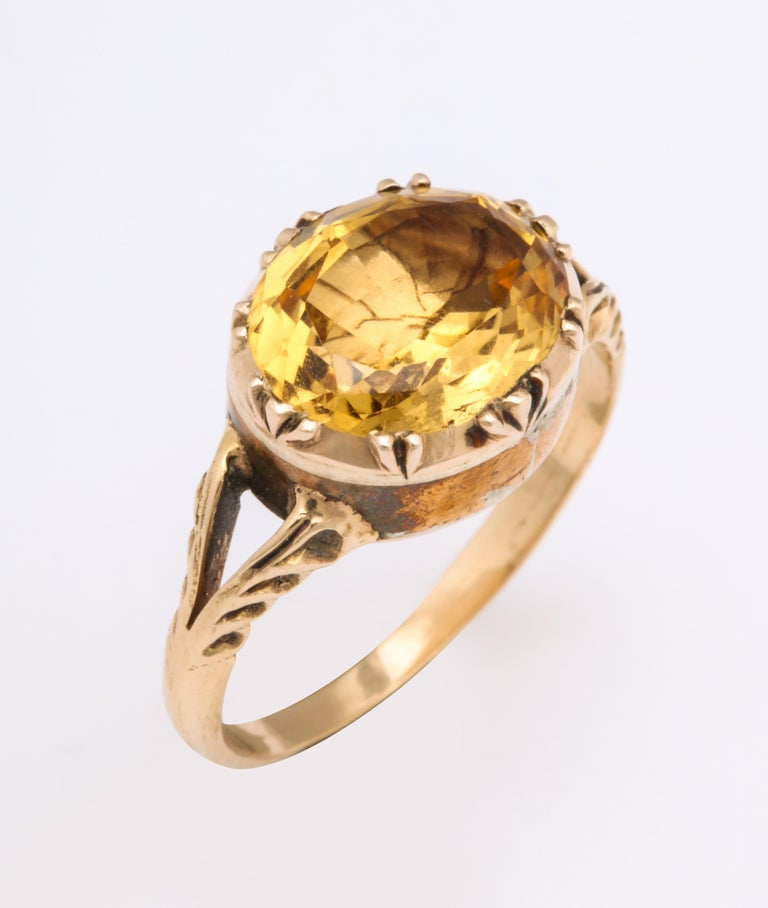 Antique Georgian 4 Carat Topaz Ring In Excellent Condition For Sale In Stamford, CT