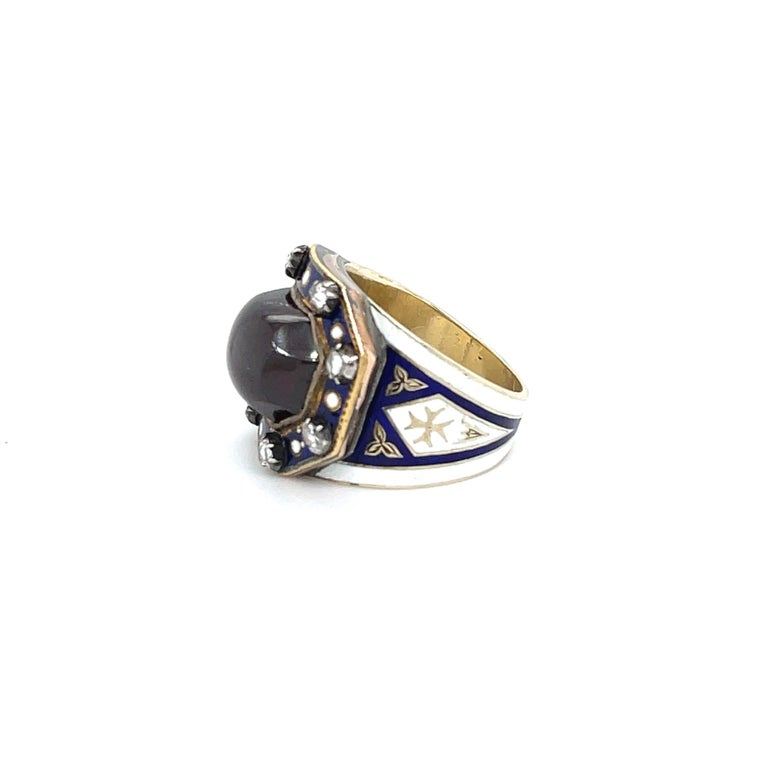 Rose Cut Antique Georgian Garnet 18 Karat Gold Enamel Memorial Ring For Sale