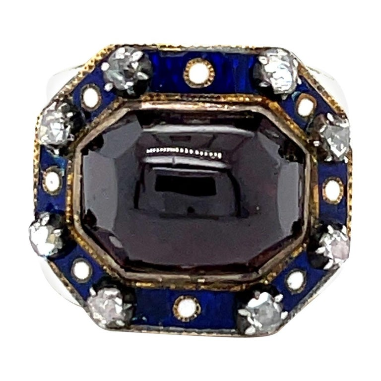 Antique Georgian Garnet 18 Karat Gold Enamel Memorial Ring For Sale