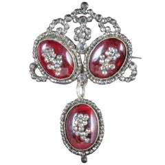 Antique Georgian Garnet Silver, circa 1780 Brooch