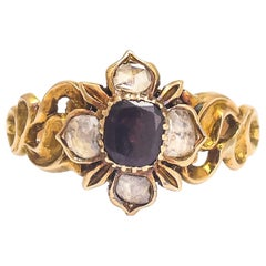 Antique Georgian Garnet Diamond Flower Cluster Ring