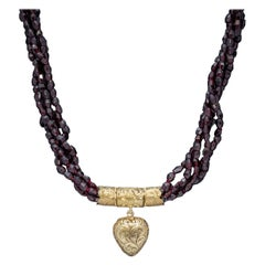 Antique Georgian Garnet Necklace 18 Carat Gold Heart Locket, circa 1800