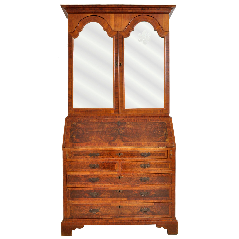 Antique Georgian George II Figured Walnut Bookcase Bureau Secretary Desk, 1740