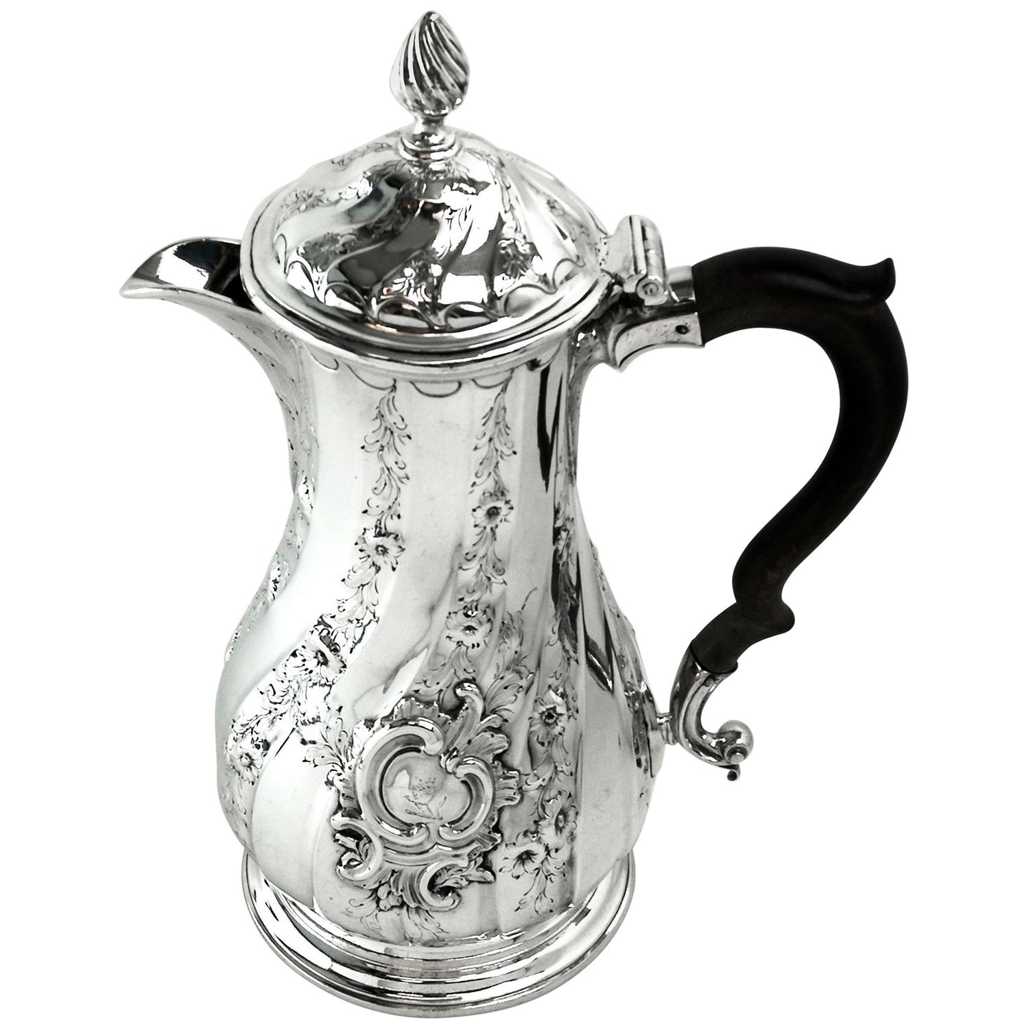 Antique Georgian George II Solid Silver Coffee Jug / Pot / Hot Water Jug, 1756