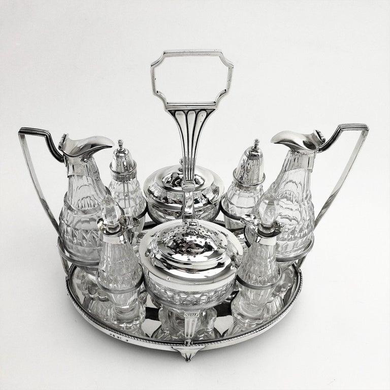 English Antique Georgian George III Cruet Set / Condiment Stand 1802 For Sale