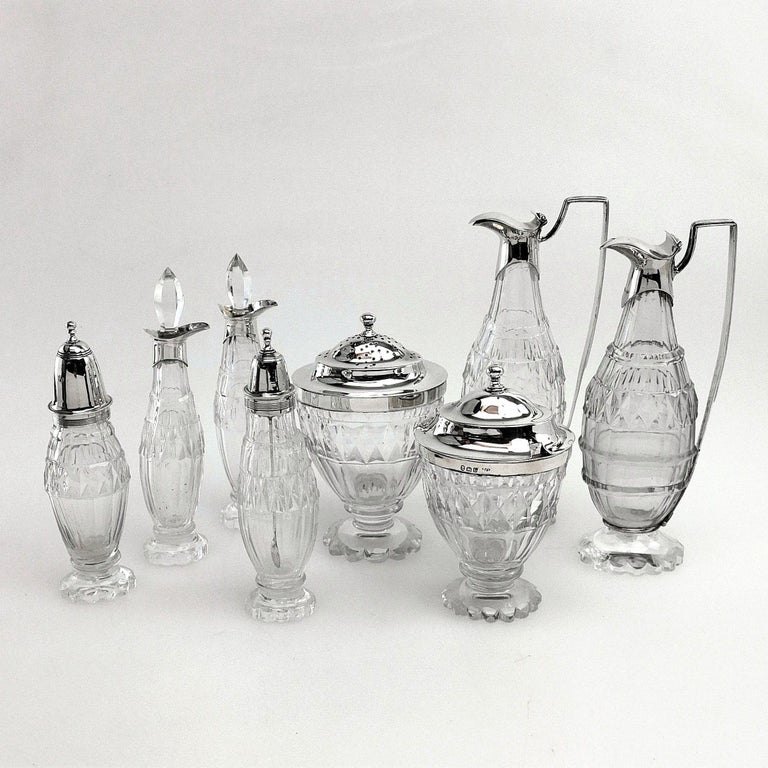 19th Century Antique Georgian George III Cruet Set / Condiment Stand 1802 For Sale