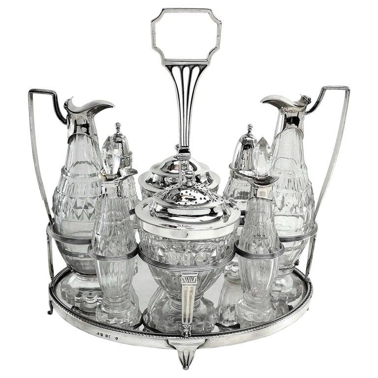 Antique Georgian George III Cruet Set / Condiment Stand 1802 For Sale