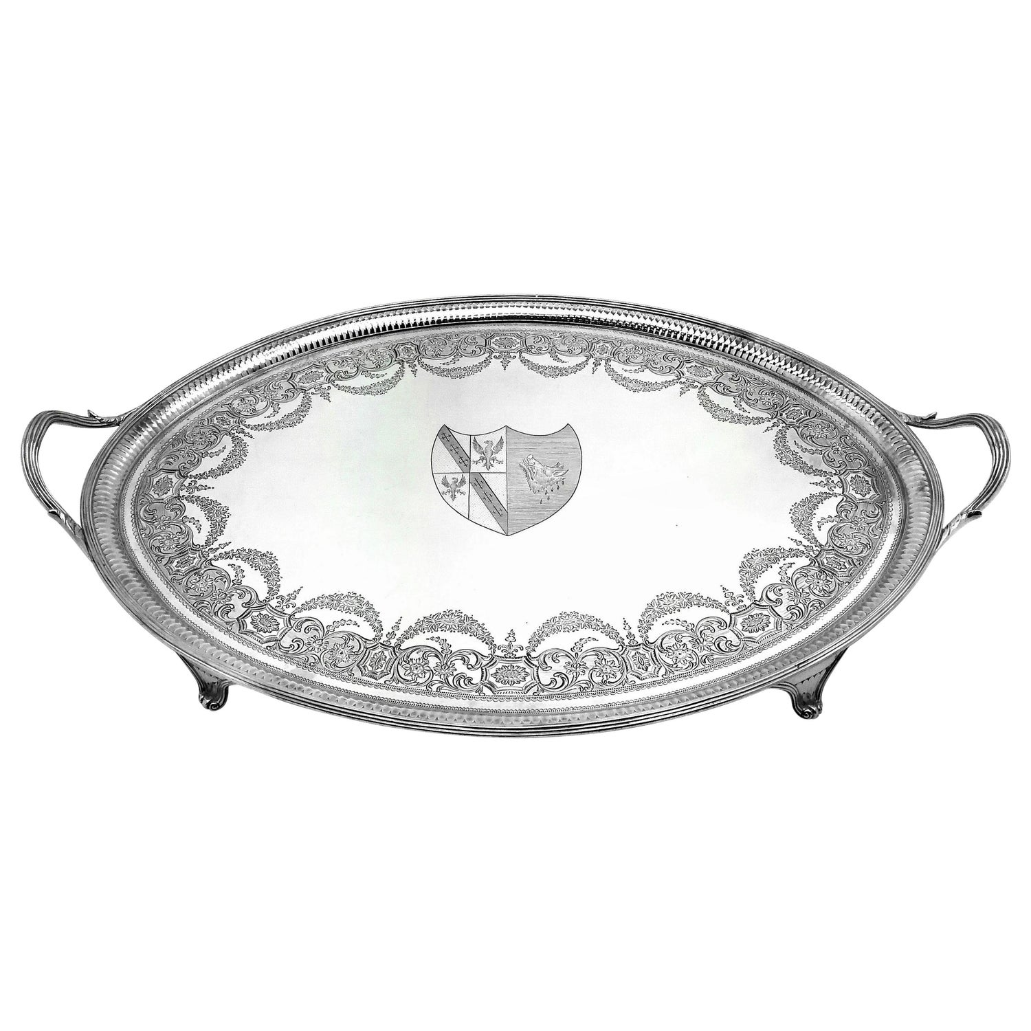Antique Georgian George III Sterling Silver Tea Tray / Oval Serving Tray, 1788