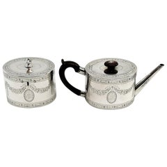 Antique Georgian George III Sterling Silver Teapot & Tea Caddy Set 1780