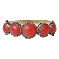Antique Georgian Gold and Coral Half Eternity Ring