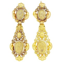 Antique Georgian Gold Cannetille Day Night Pendant Earrings