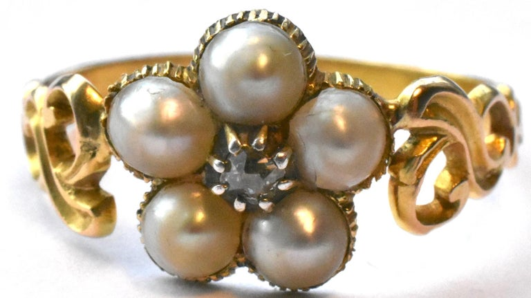 Cabochon Antique Georgian Gold, Pearl and Diamond Forget-Me-Not Ring, circa 1840 For Sale