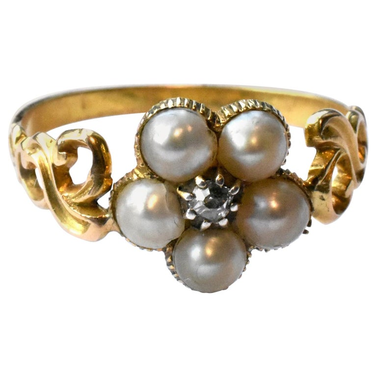 Antique Georgian Gold, Pearl and Diamond Forget-Me-Not Ring, circa 1840 For Sale