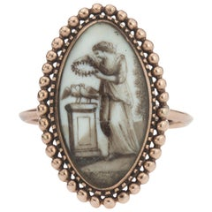 Antique Georgian Gold Ring with a Sepia Painting, 1780s