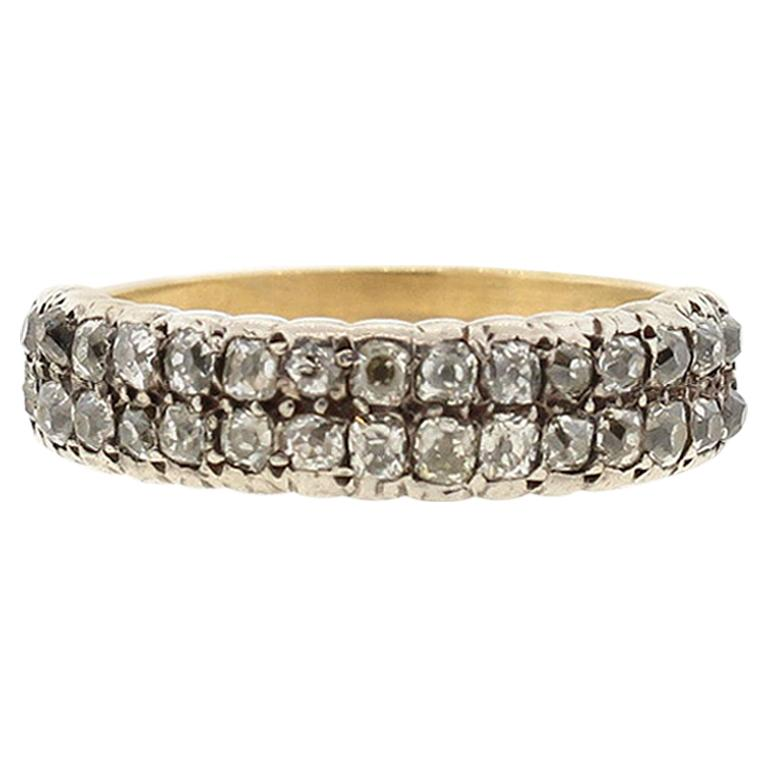 Antique Georgian Half Hoop Two-Row Antique Cut Diamond Ring