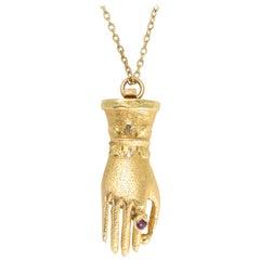 Antique Georgian Hand Wearing Ruby Ring Pendant