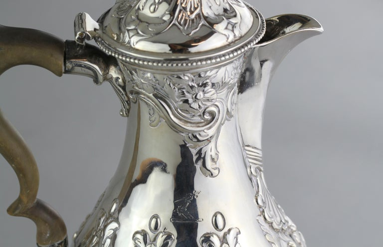 Antique Georgian III Sterling Silver Tea Pot, London 1816, Charles Wright For Sale 2
