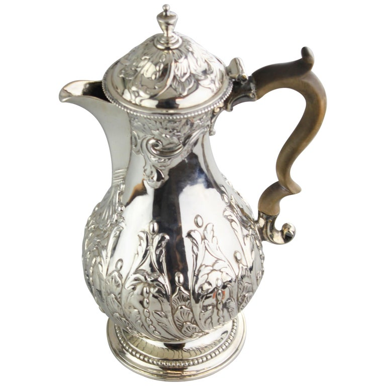 Antique Georgian III Sterling Silver Tea Pot, London 1816, Charles Wright For Sale