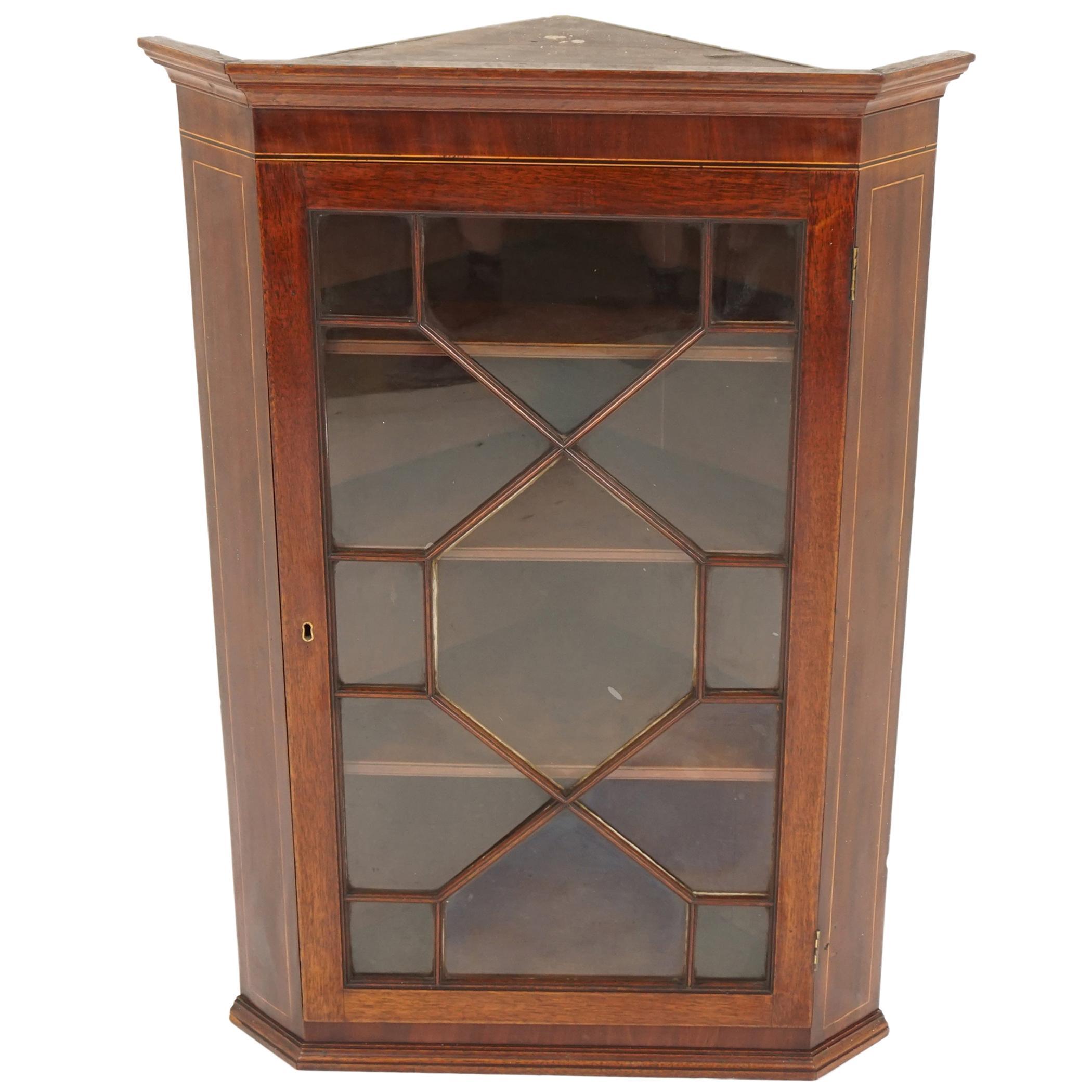 Antique Georgian Inlaid Walnut Hanging Corner Cabinet, Scotland 1830, 1946A