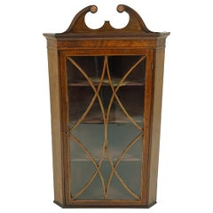 Antique Georgian Inlaid Walnut Hanging Corner Cabinet, Scotland 1790 1689