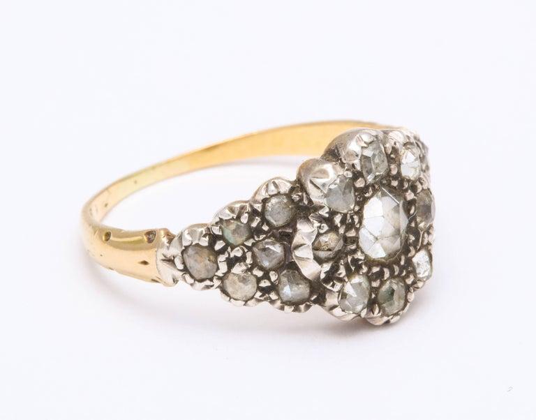 George III Antique Georgian Ladies Diamond Cluster Ring For Sale