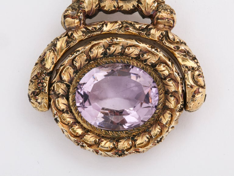 Antique Georgian Large Amethyst Spinner Fob Pendant In Excellent Condition For Sale In Stamford, CT