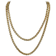 Antique Georgian Long Guard Chain 18 Carat Gold on Silver, circa 1800