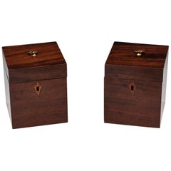 Pair of Antique Georgian Mahogany Tea Caddies, 19th Century