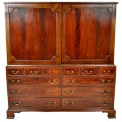 Antique Georgian Mahogany Linen Press/ Cabinet/ Chest of Drawers, circa 1800