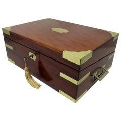 Antique Georgian Mahogany Victorian Brass Bound Traveling Writing Slope Box