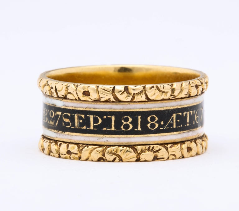 Price mark down...Crisp and clear raised engraved edges protect this enameled 18 kt band ring memorializing General David Willis in 1818. The enamel is in perfect condition, the central band being black with gold writing and the outer bands