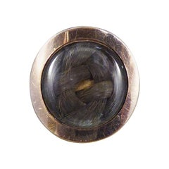 Antique Georgian Memorial Ring with Platted Hair in 14ct Yellow Gold