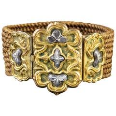 Antique Georgian Mourning Hair Bracelet 18 Carat Gold, circa 1780