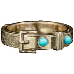 Antique Georgian Mourning Turquoise Buckle Ring 18 Carat Gold, circa 1800