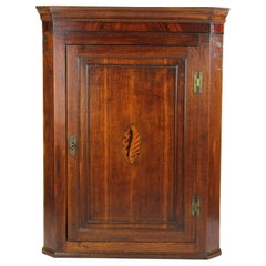 Antique Georgian Oak Corner Cupboard English Regency Hanging Cabinet, circa 1780
