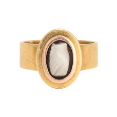 Antique Georgian Onyx Cameo Fede Ring