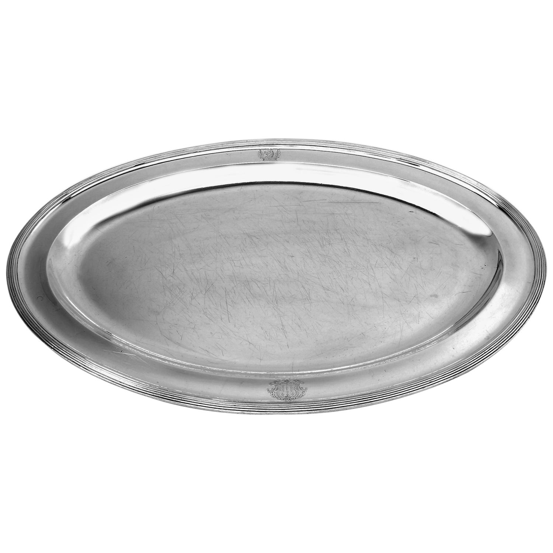 Antique Georgian Oval Sterling Silver Meat Platter / Serving Dish 1804