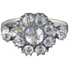 Antique Georgian Paste Stone Ring Silver, circa 1790