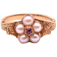 Antique Georgian Pearl Cluster Ring with Ruby Center, circa 1820