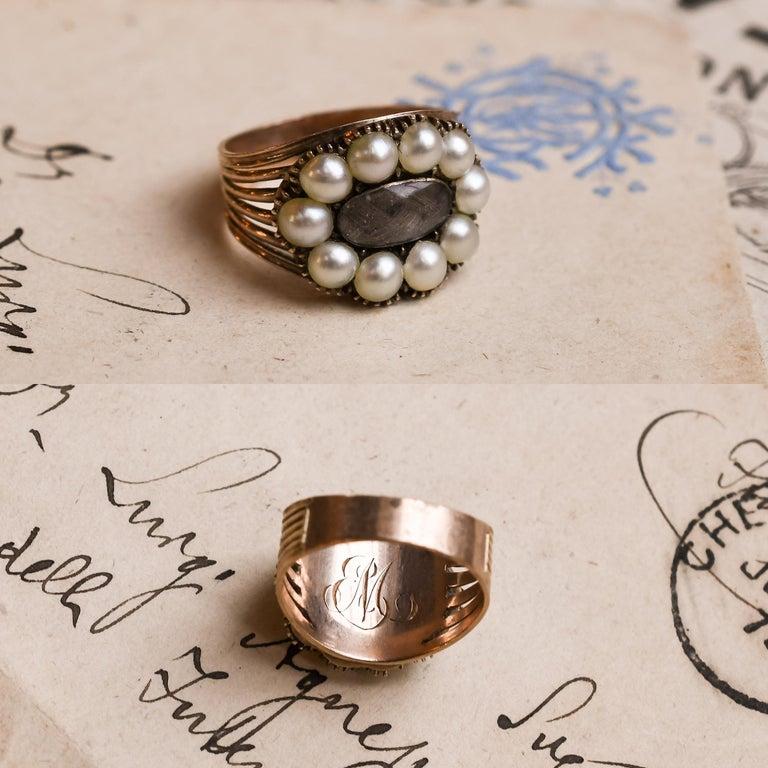 Women's or Men's Antique Georgian Pearl Hair Memorial Ring For Sale